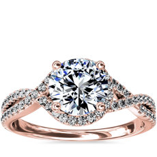 NEW Twisted Halo Diamond Engagement Ring in 14k Rose Gold (1/3 ct tw.)