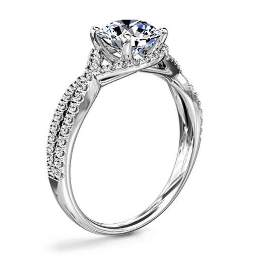 Twisted Halo Diamond Engagement Ring