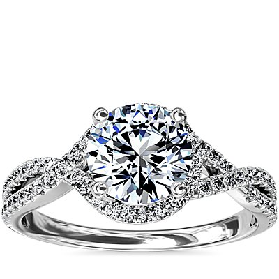 Twisted Halo Diamond Engagement Ring in Platinum (0.31 ct. tw.)