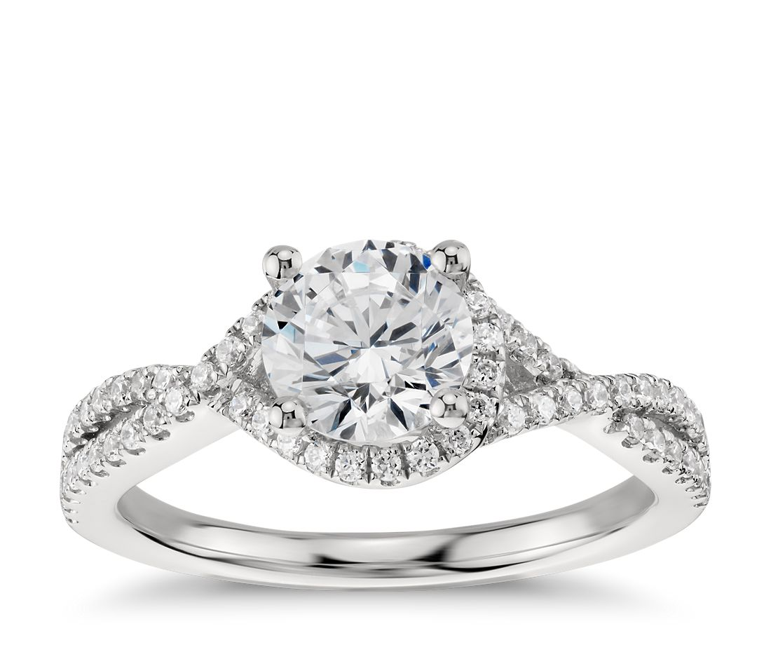 twisted halo diamond engagement ring in platinum 1 3 ct tw blue nile. Black Bedroom Furniture Sets. Home Design Ideas