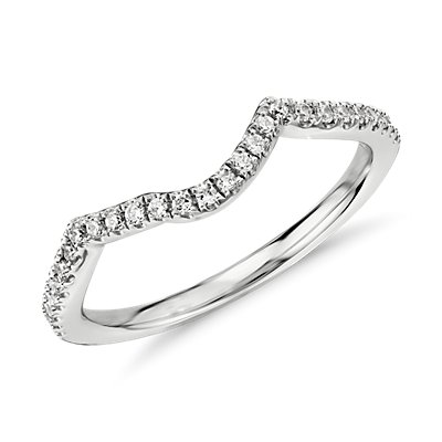 Twist Curved Diamond Ring in 14k White Gold