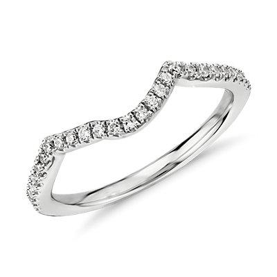 Bague en diamant incurvée et torsadée en or blanc 14carats
