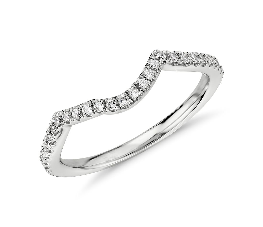 Twist Curved Diamond Ring in 14k White Gold (1/6 ct. tw.)