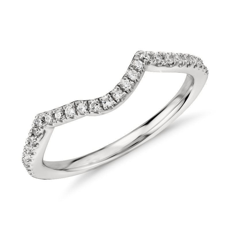 Twist Curved Diamond Ring in Platinum (1/6 ct. tw.)