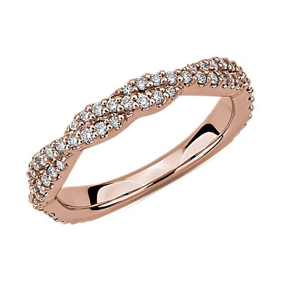 Twist Diamond Wedding Ring in 14k Rose Gold (3/8 ct. tw.)
