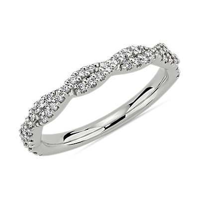 Twist Diamond Wedding Ring in 14k White Gold (1/4 ct. tw.)