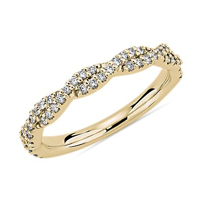 14k 黃金扭轉鑽石結婚戒指(1/4 克拉總重量)