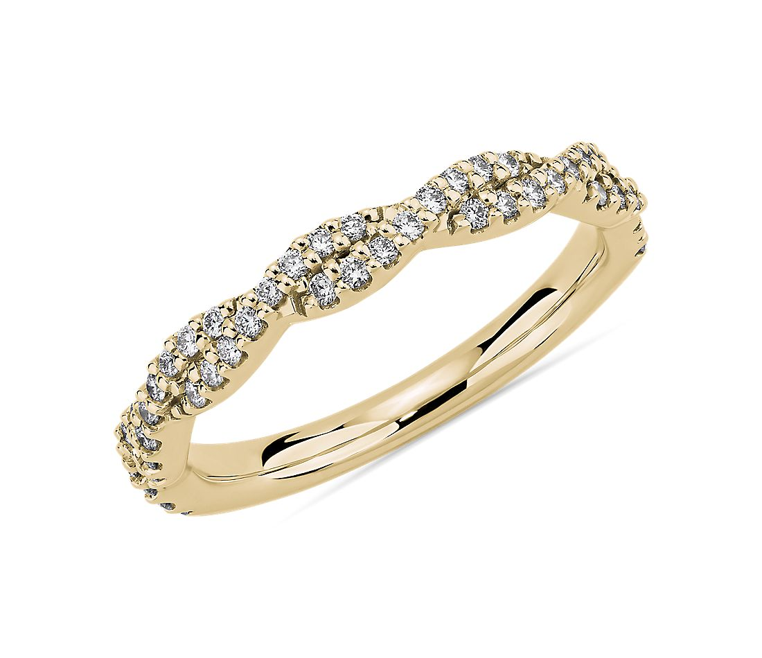 Twist Diamond Wedding Ring in 14k Yellow Gold (1/4 ct. tw.)