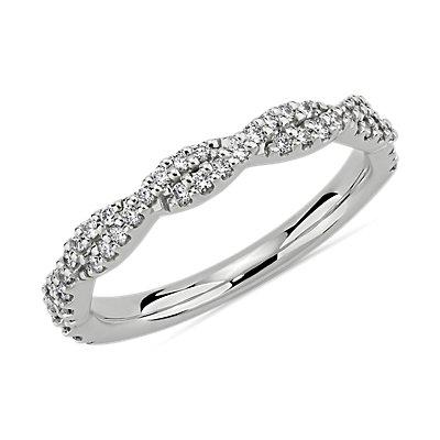 新款鉑金扭轉鑽石結婚戒指 (1/4 克拉總重量)