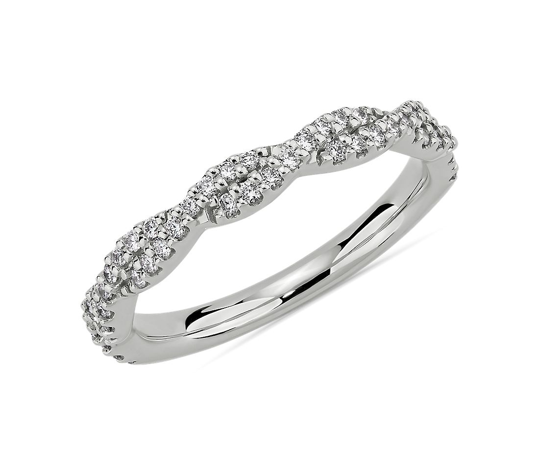 Twist Diamond Wedding Ring in Platinum (1/4 ct. tw.)