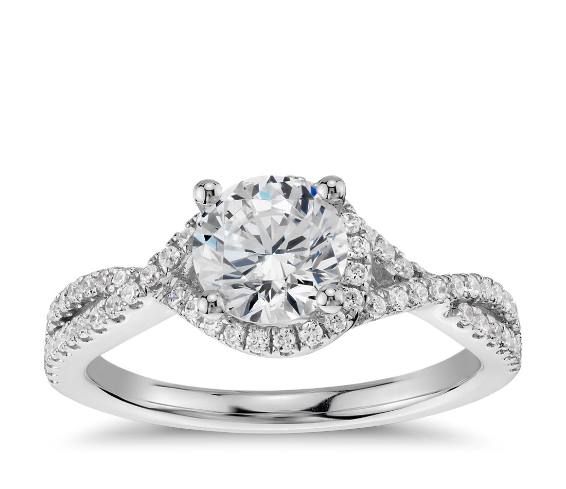 Twisted Halo Diamond Engagement Ring in 14k White Gold (1 ...