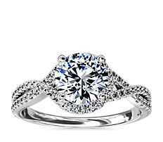 Twisted Halo Diamond Engagement Ring in 14k White Gold (0.31 ct. tw.)