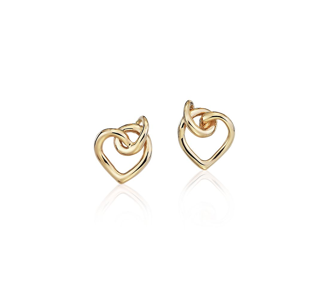 Twist Heart Stud Earrings in 14k Yellow Gold