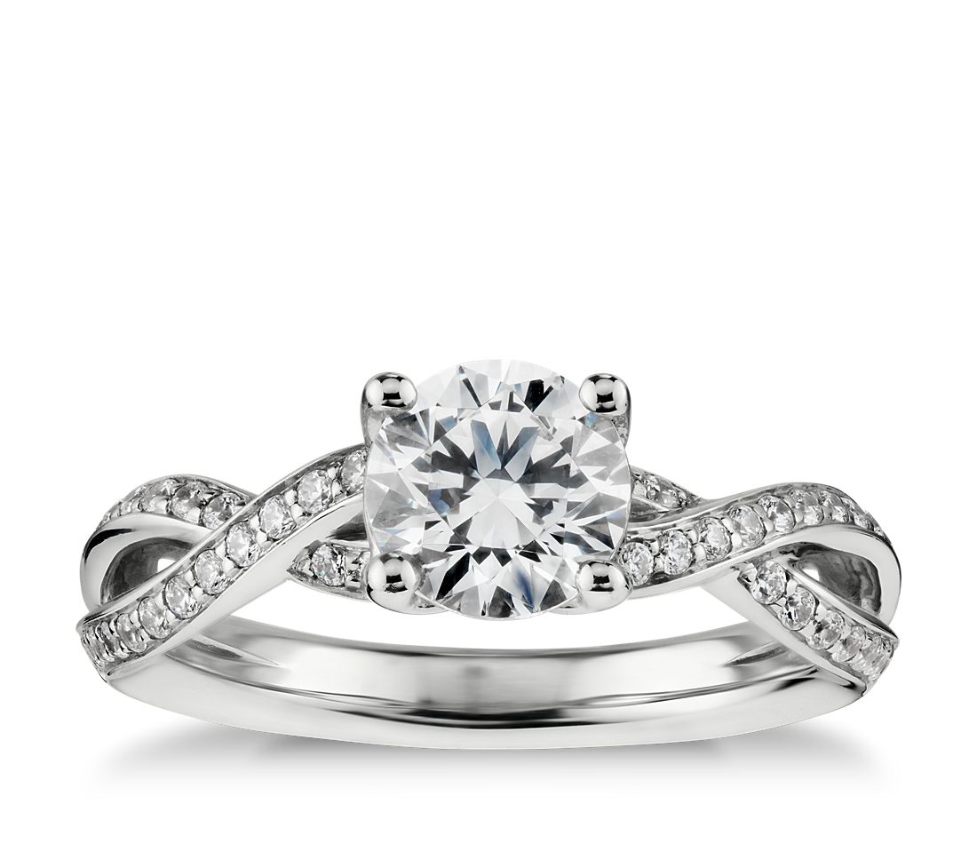 Twist Pavé Diamond Engagement Ring In 14k White Gold (1/4