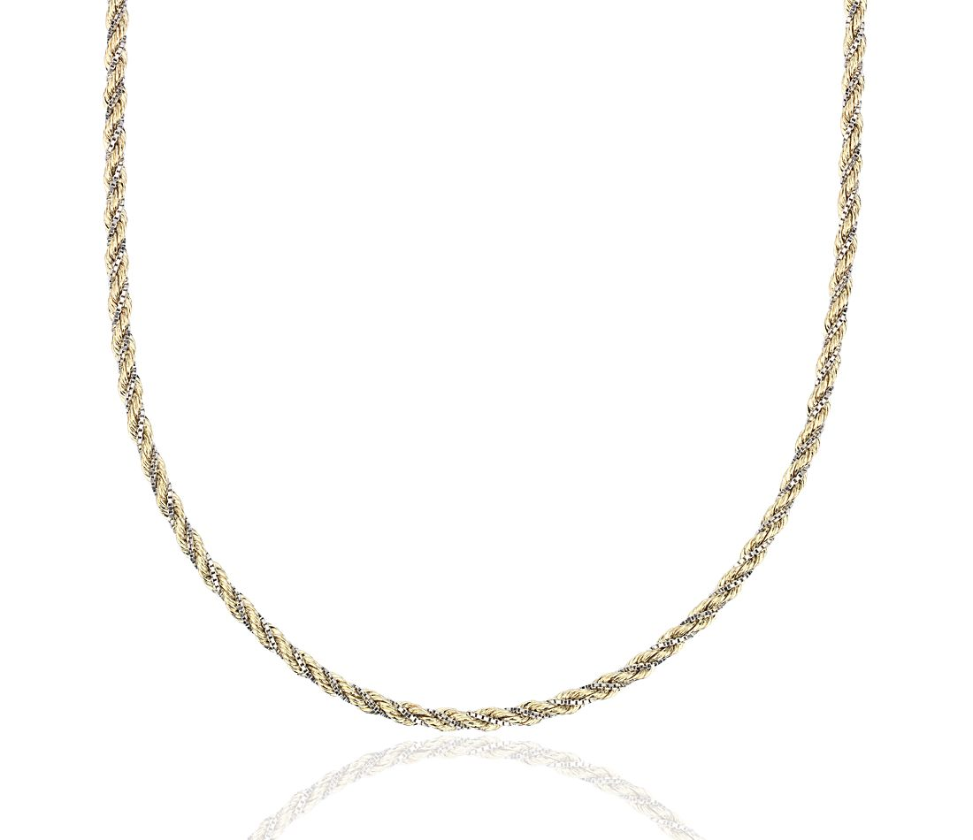 Twist Rope And Box Chain Necklace In 14k White And Yellow