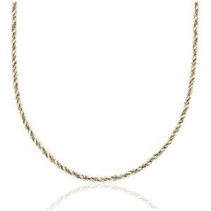 NUEVO. Collar con cuerda retorcida y cadena de caja, en oro blanco y amarillo de 14k