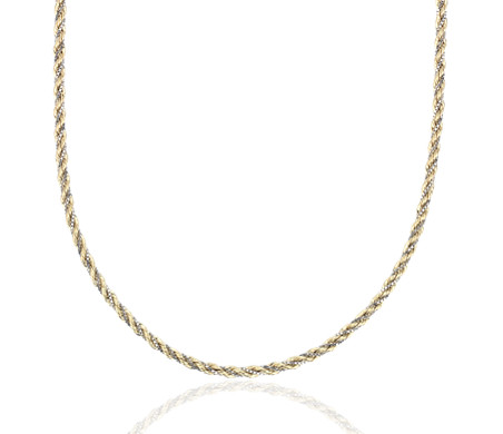 Twist Rope and Box Chain Necklace in 14k White and Yellow Gold