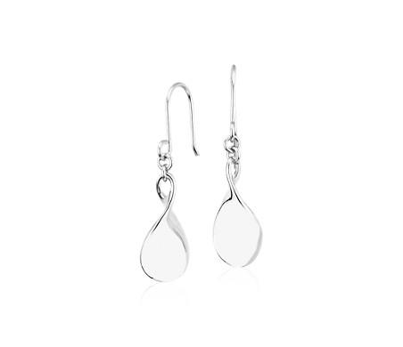 Twist Teardrop Earrings in Platinum