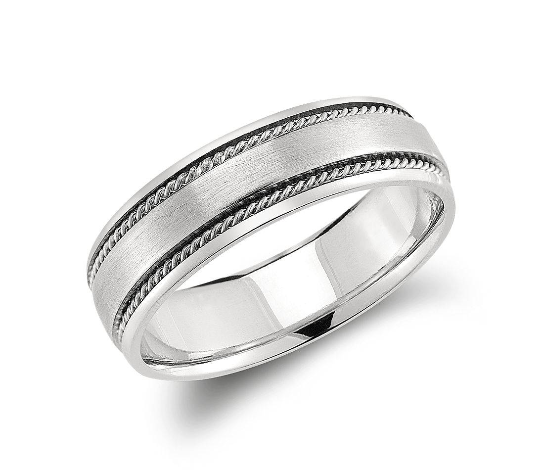 handcrafted twist wedding ring in platinum 6mm - Grooms Wedding Ring