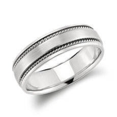 鉑金手工製作的扭紋結婚戒指(6毫米)