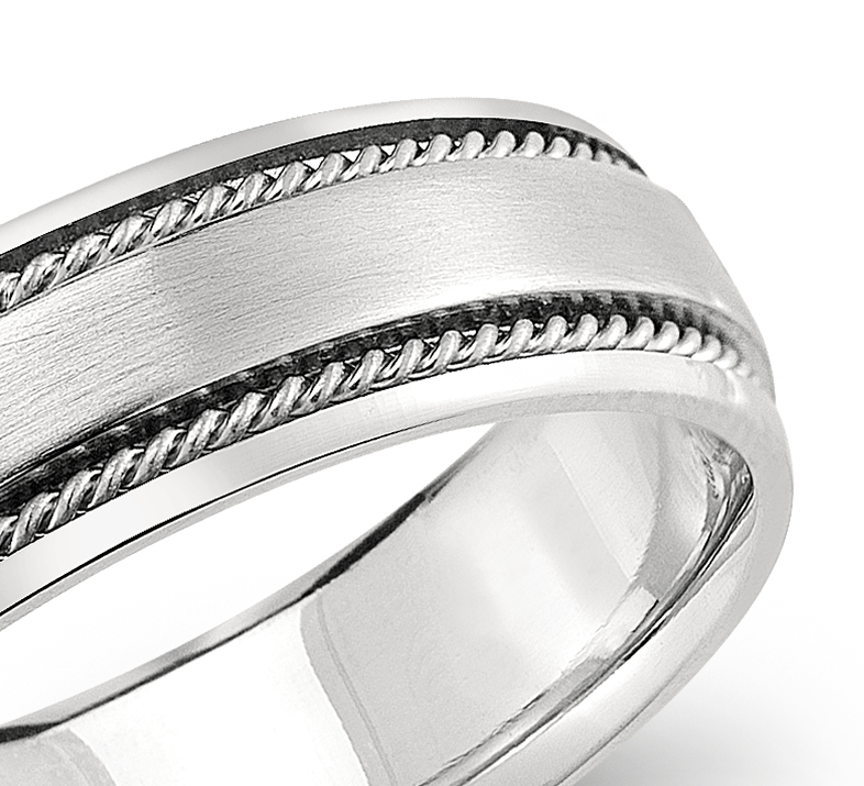 Handcrafted Twist Wedding Ring in Platinum (6mm)