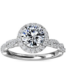 Twisted Band Halo Diamond Engagement Ring in 14k White Gold (1/3 ct. tw.)