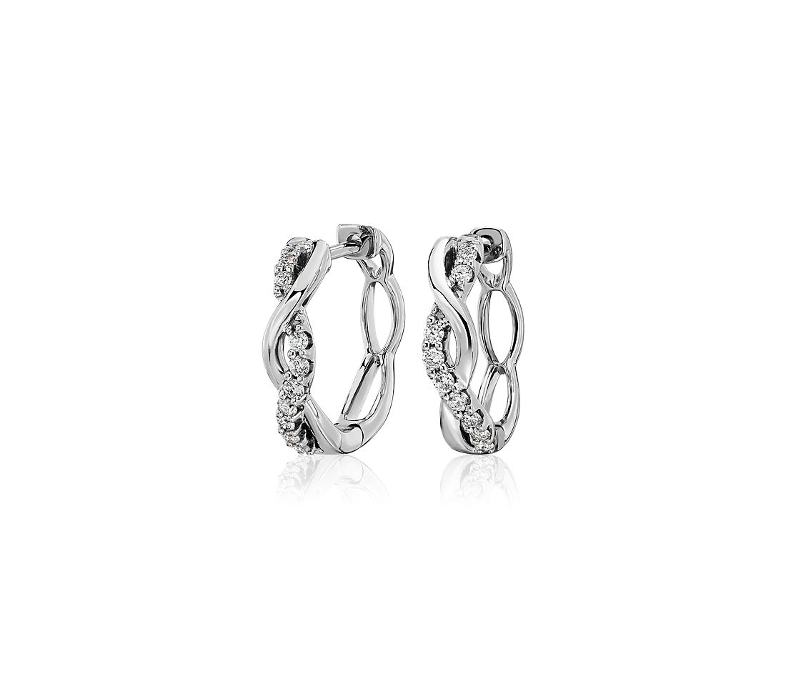 Twisted and Polish and Diamond Hoop Earrings in 14k White Gold (0.19 ct. tw.)