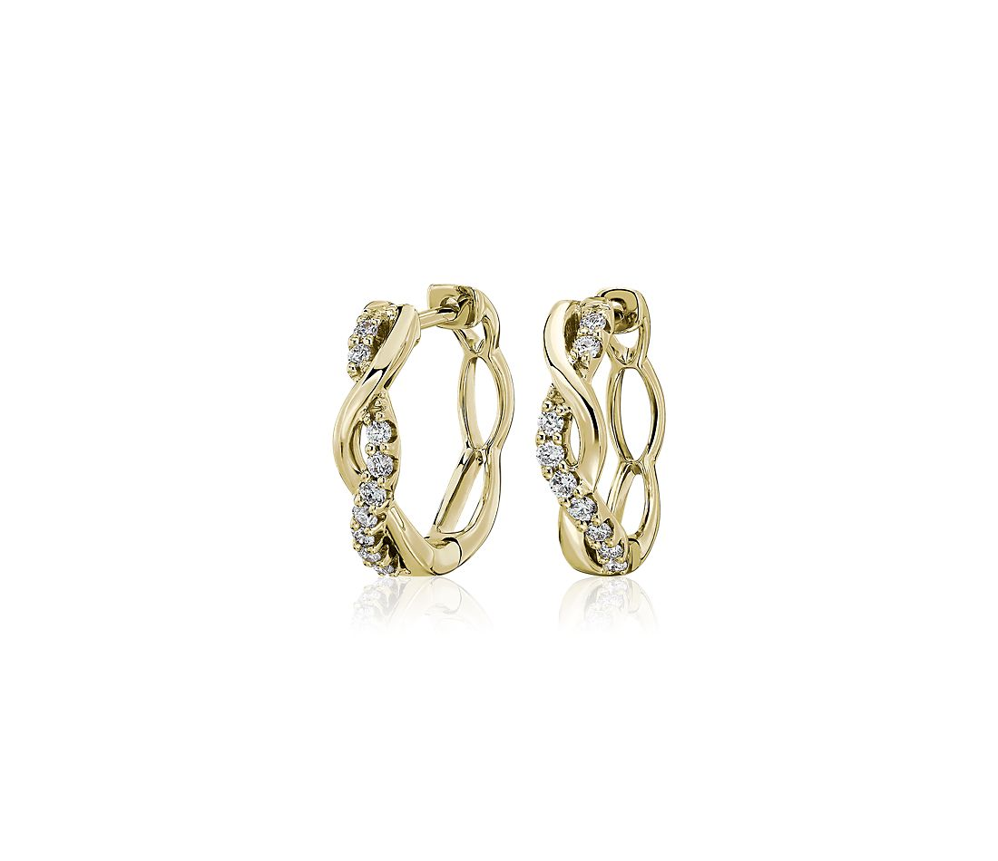 Twisted and Polish and Diamond Hoop Earrings in 14k Yellow Gold (.18 ct. tw.)
