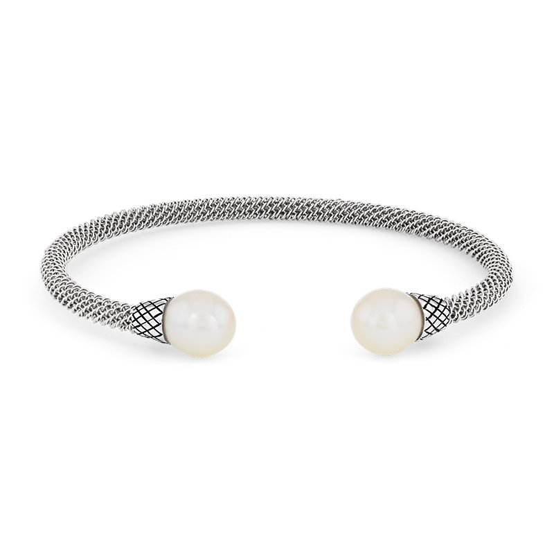 Twisted Cuff Bracelet with Freshwater Cultured Pearl Ends in Ster