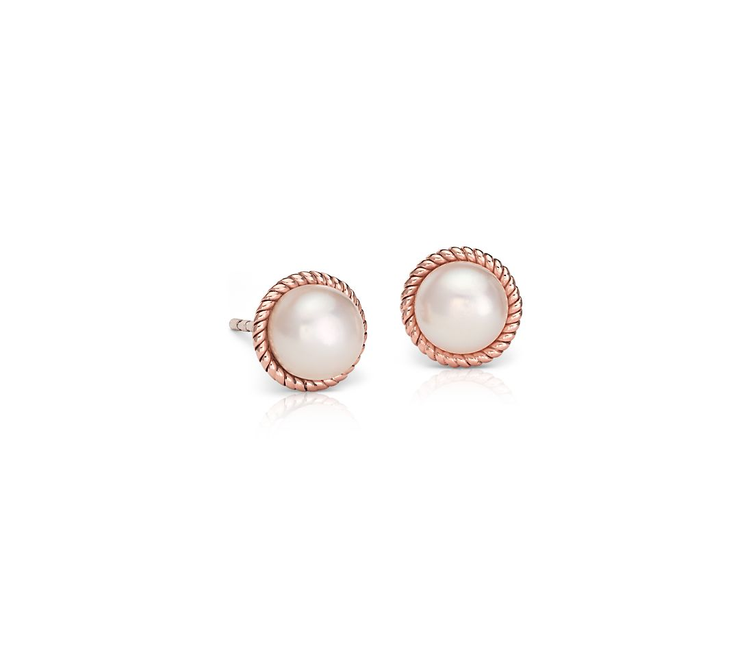 Freshwater Cultured Pearl Roped Stud Earrings In 14k Rose Gold 6mm