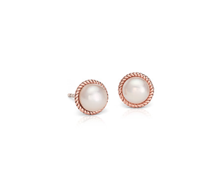 Blue Nile Floral Stud Earrings in Rose Gold and Sterling Silver pZZDNuuvi