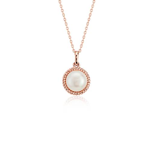 Freshwater cultured pearl twisted pendant in 14k rose gold 6mm freshwater cultured pearl twisted pendant in 14k rose gold 6mm blue nile aloadofball Choice Image