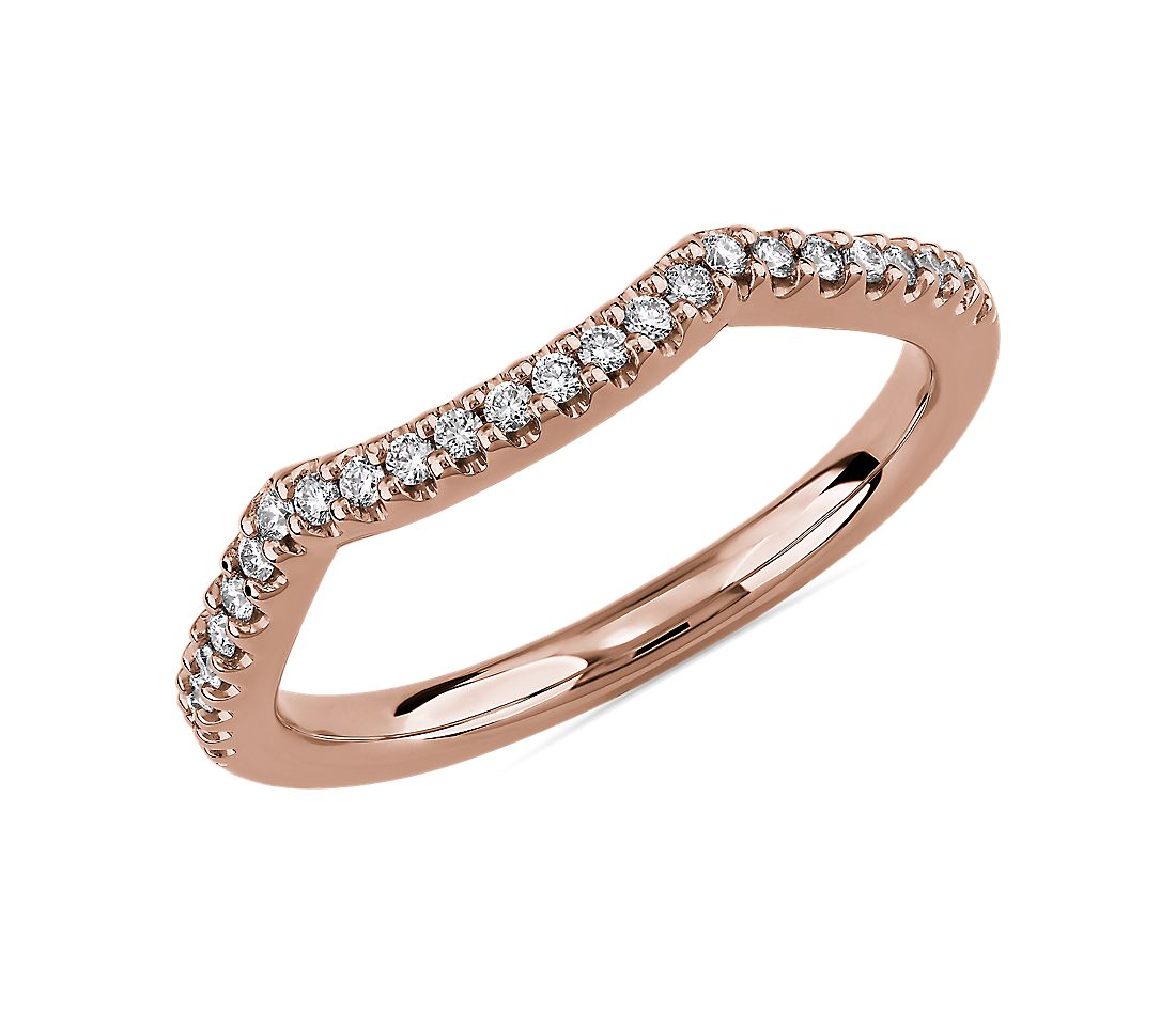 Twisted Double Chevron Wedding Ring in 14k Rose Gold (1/6 ct. tw.)