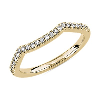 Twisted Double Chevron Wedding Ring in 14k Yellow Gold (1/6 ct. tw.)