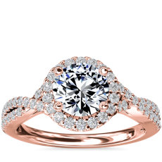 Twisted Halo Diamond Engagement Ring in 14k Rose Gold (1/3 ct. tw.)