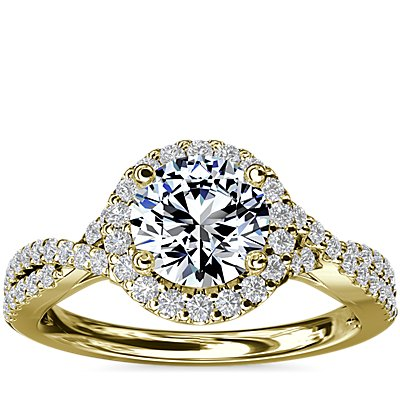 NEW Twisted Halo Diamond Engagement Ring in 14k Yellow Gold (1/3 ct. tw.)