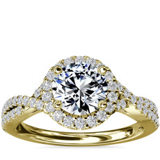 Twisted Halo Diamond Engagement Ring in 14k Yellow Gold (1/3 ct. tw.)