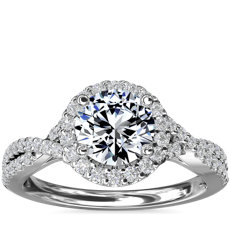 Twisted Halo Diamond Engagement Ring in Platinum (1/3 ct. tw.)