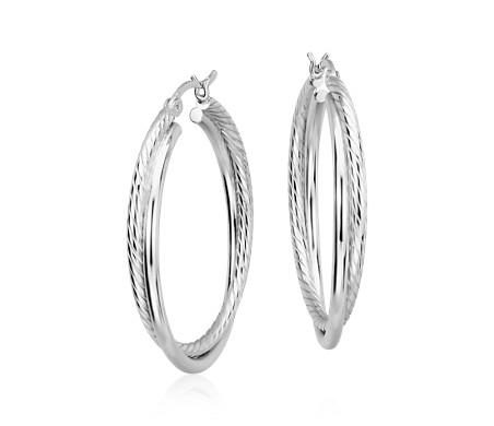 """Twisted Hoop Earrings in Sterling Silver (1 1/4"""")"""