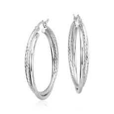 "Twisted Hoop Earrings in Sterling Silver (1 1/4"")"
