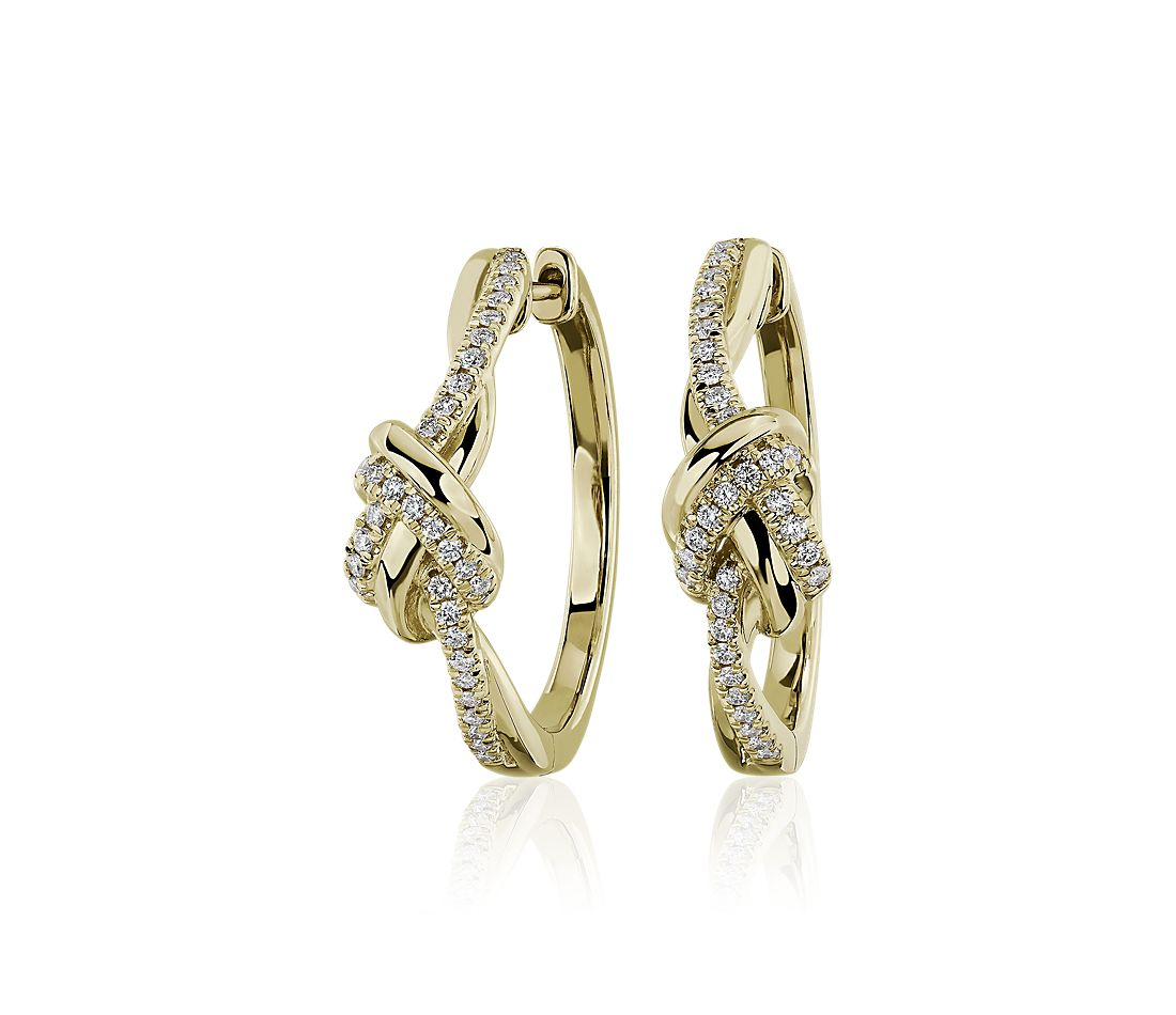 Twisted Knot Hoop Earrings in 14k Yellow Gold (1/3 ct. tw.)