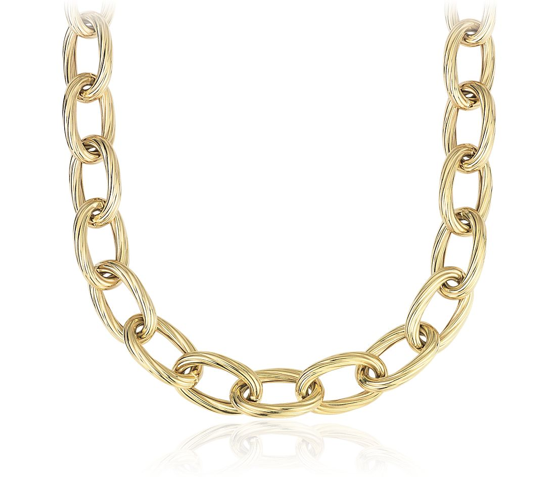 Twisted Link Necklace in 14k Italian Yellow Gold