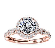 新款 14k 玫瑰金光环配扭转戒环钻石订婚戒指<br>(1/3 克拉总重量)