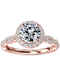 Twisted Band Halo Diamond Engagement Ring in 14k Rose Gold (1/3 ct. tw.)