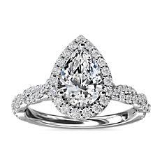 新款 14k 白金扭紋光環鑽石訂婚戒指 (1/3 克拉總重量)
