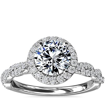 NEW Halo with Twisted Band Diamond Engagement Ring in 14k White Gold (1/3 ct. tw.)