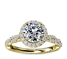 Halo with Twisted Band Diamond Engagement Ring in 14k Yellow Gold (1/3 ct. tw.)