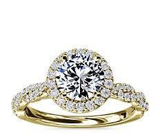 14k 金扭转戒环光环钻石订婚戒指(1/3 克拉总重量)