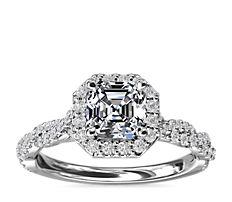 新款铂金光环配扭转戒环钻石订婚戒指<br>(1/3 克拉总重量)