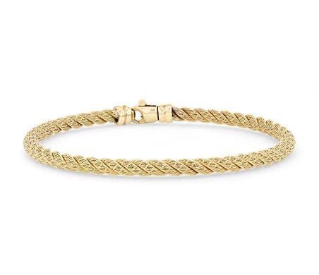 18k 金扭纹绳索手链